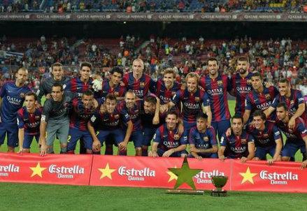 Il Barcellona festeggia la vittoria del Trofeo Gamper 2014