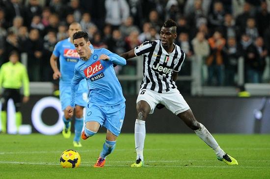 Lo spagnolo del Napoli José Callejon, 28 anni e il francese della Juventus Paul Pogba, 22 (INFOPHOTO)