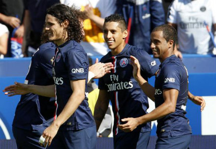 Il PSG festeggia la vittoria contro il Bastia