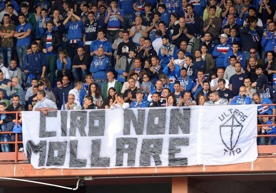 Striscione di solidarietà per Ciro Esposito (Infophoto)