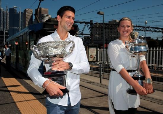 Novak Djokovic e Victoria Azarenka, campioni in carica a Melbourne (Infophoto)