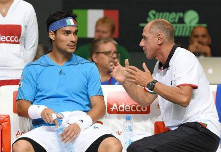 Fabio Fognini (27 anni) con il capitano Corrado Barazzutti (61)