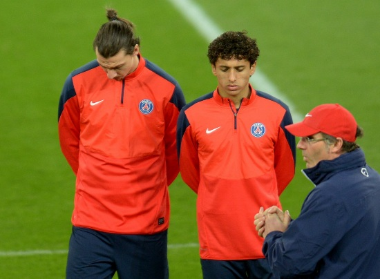 Laurent Blanc, 48 anni, con Ibrahimovic e Marquinhos (Infophoto)