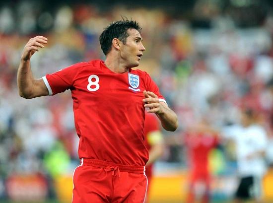 Frank Lampard in campo contro la Germania nel 2010: suo il gol non visto (Infophoto)