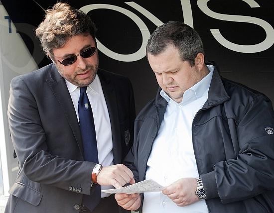Tommaso Ghirardi con il direttore sportivo Pietro Leonardi (Infophoto)