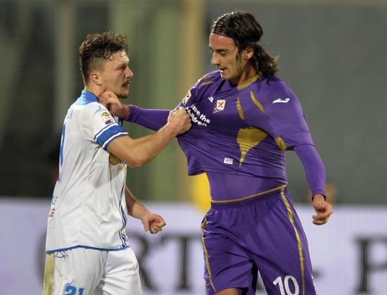 Mario Rui, 23 anni, portoghese dell'Empoli e Alberto Aquilani, 30, della Fiorentina (INFOPHOTO)