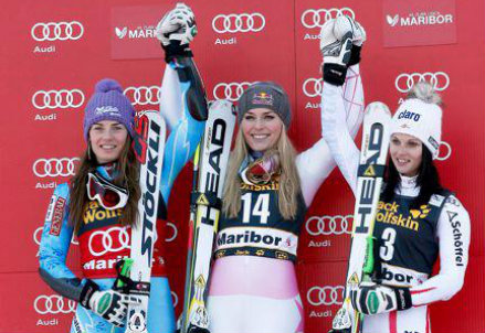 Da sinistra: Tina Maze (31 anni), Lindsey Vonn (30) e Anna Fenninger (25)