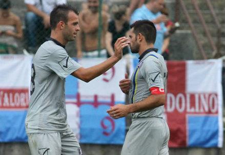 Riccardo Meggiorini e Sergio Pellissier (Foto Infophoto)