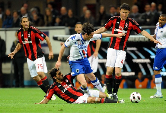 Milan e Sampdoria nell'ultima sfida in serie A (Infophoto)