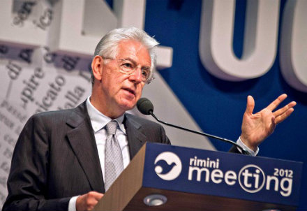Mario Monti al Meeting di Rimini 2012 (Infophoto)