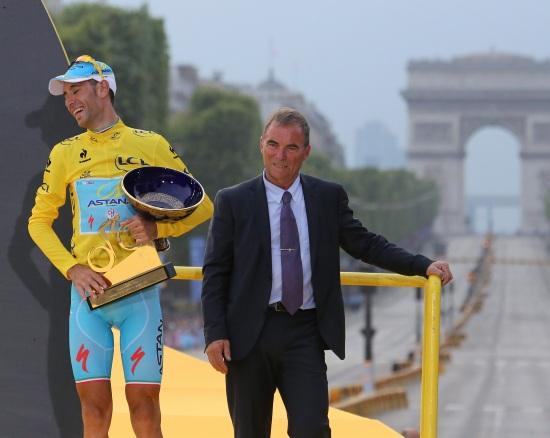Vincenzo Nibali sul podio 2014
