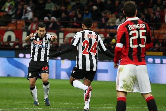 Pinzi e Muriel esultano a San Siro: ma vincerà il Milan (Infophoto)