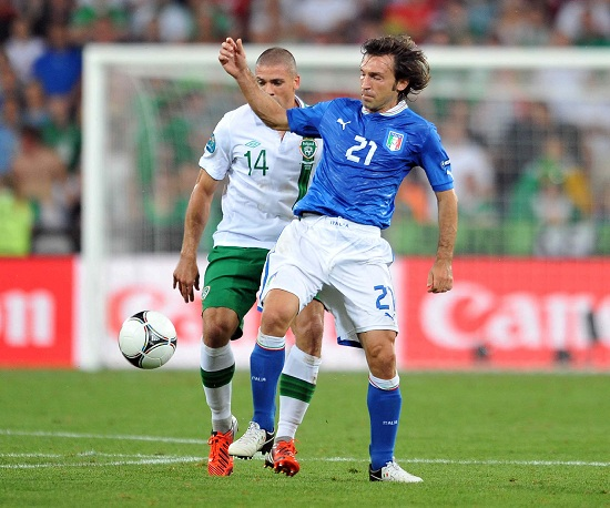 Andrea Pirlo contro l'Irlanda all'Europeo 2012 (Infophoto)