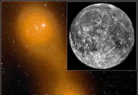 """Immagine del gas diffuso (in arancione) ottenuta da PLANCK sovrapposta all'immagine dei singoli ammassi ottica ottenuta con telescopi da Terra. L'immagine è confrontata con la Luna piena per mostrare le dimensioni del """"ponte"""" nel cielo.  Credit: Effetto SZ (arancio): ESA & PLANCK Collaboration; immagine ottica: STScI Digitized Sky Survey"""