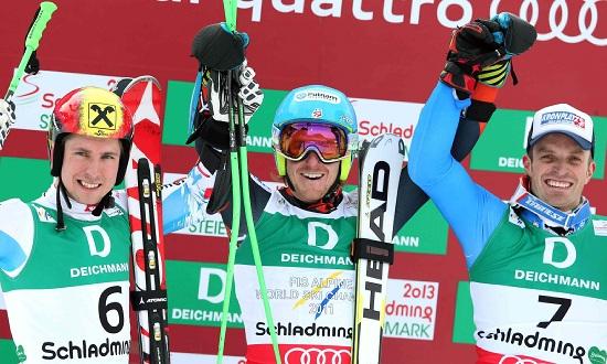 Il podio del gigante: Hirscher, Ligety, Moelgg (Infophoto)