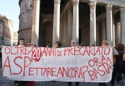 Una protesta dei precari