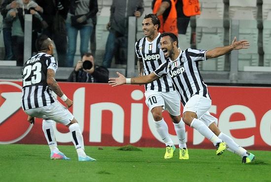 Quagliarella in gol contro il Galatasaray (Infophoto)