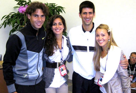 Nadal e Djokovic con le rispettive fidanzate