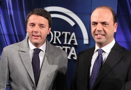 Matteo Renzi e Angelino Alfano (Infophoto)