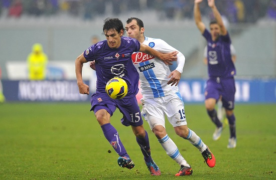 Stefan Savic contro Goran Pandev (Infophoto)
