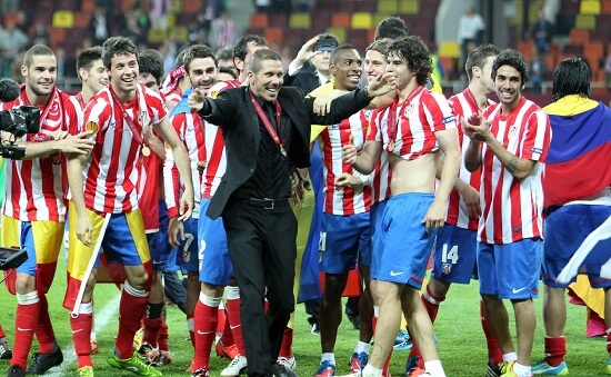 L'Atletico Madrid festeggia la vittoria dell'ultima Europa League (Infophoto)