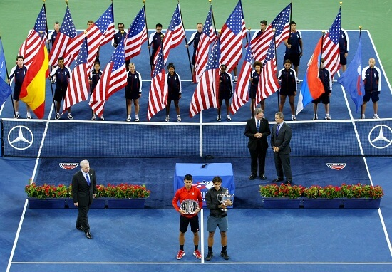 Djokovic e Nadal premiati dopo la finale (Infophoto)