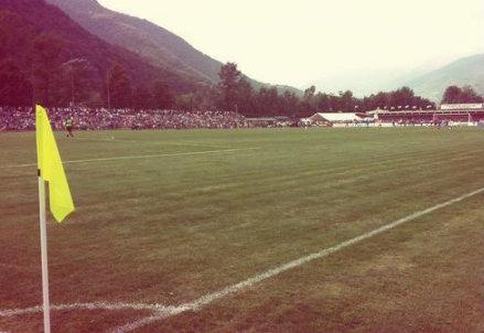 Il campo di Villar Perosa che ha ospitato l'amichevole in famiglia della Juventus