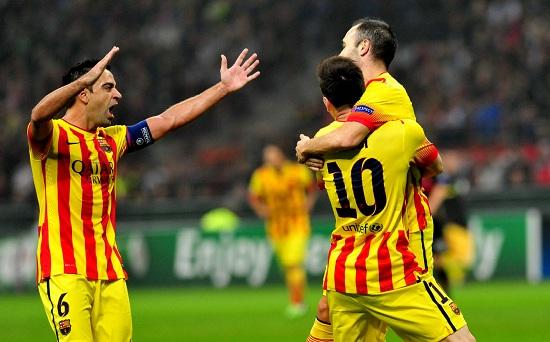 Il Barcellona esulta a San Siro (Infophoto)