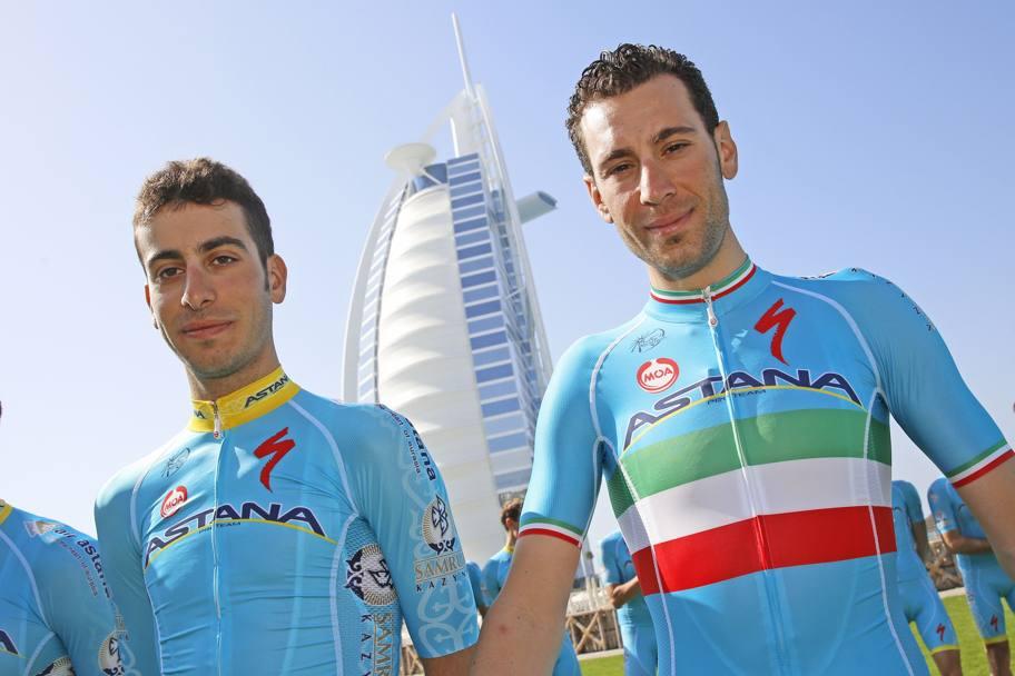 Fabio Aru e Vincenzo Nibali (immagine d'archivio)