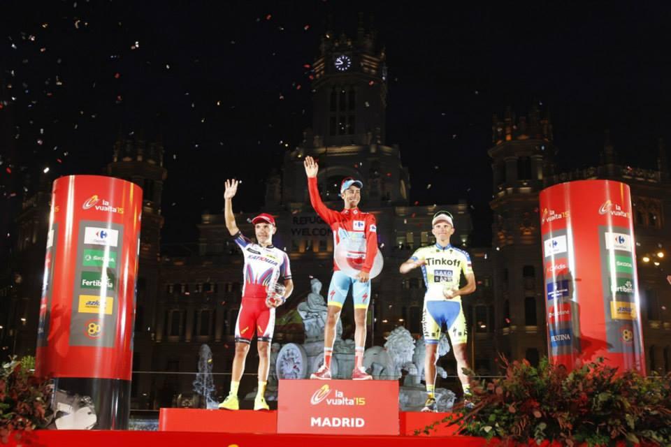 Il podio della Vuelta 2015 vinta da Fabio Aru (da Facebook Vuelta a Espana)