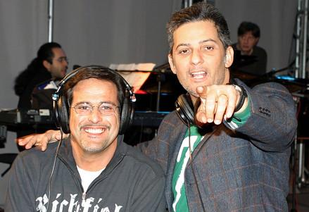 Marco Baldini (S) con Fiorello (Infophoto)