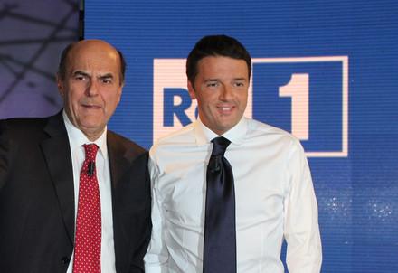 Il confronto tv tra Bersani e Renzi (InfoPhoto)