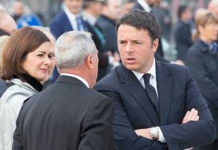 Laura Boldrini con Pietro Grasso e Matteo Renzi (Infophoto)