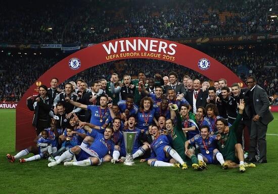 Il Chelsea festeggia l'Europa League 2012-2013 (Infophoto)