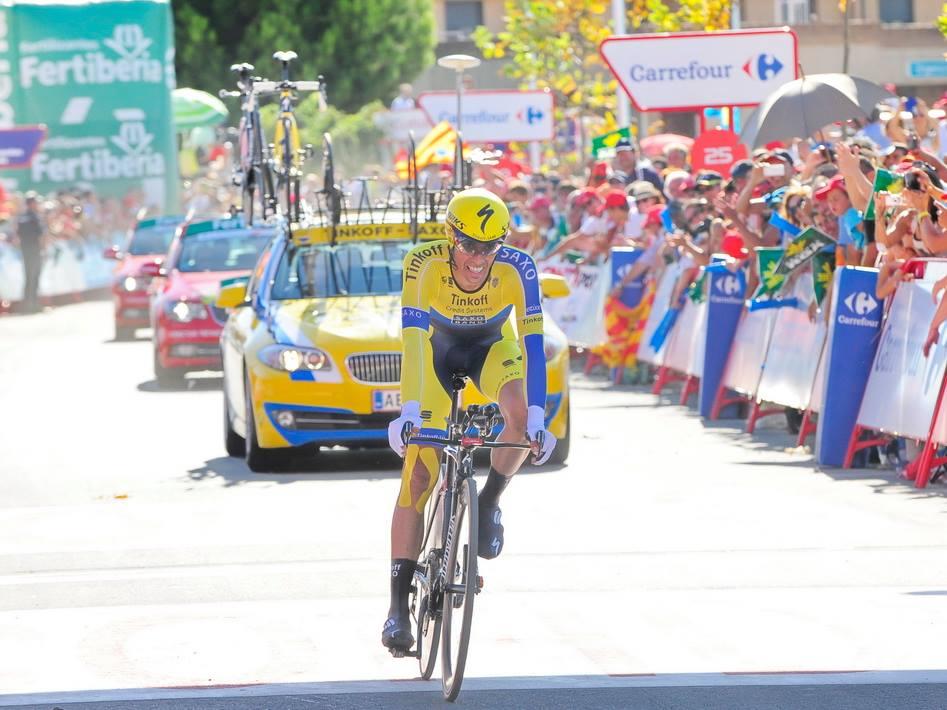 Alberto Contador nella precedente cronometro di questa Vuelta