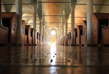 Biblioteca Malatestiana di Cesena, Aula del Nuti (XV sec.) (Immagine d'archivio)