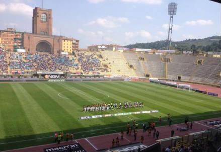 Lo stadio Dall'Ara di Bologna (dall'account Twitter ufficiale @V_Entella)
