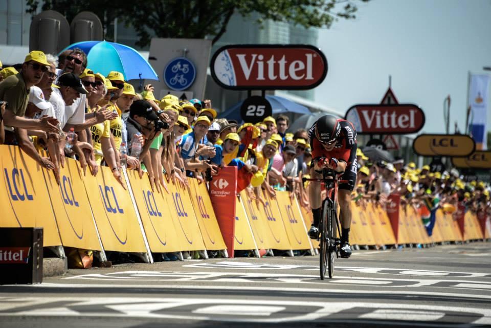 Rohan Dennis sul traguardo di Utrecht (da Facebook Le Tour de France)