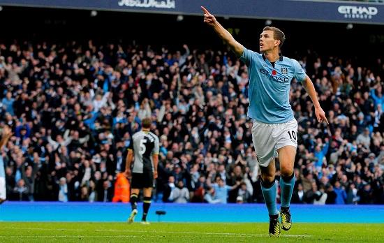 Edin Dzeko, attaccante del Manchester City (Infophoto)