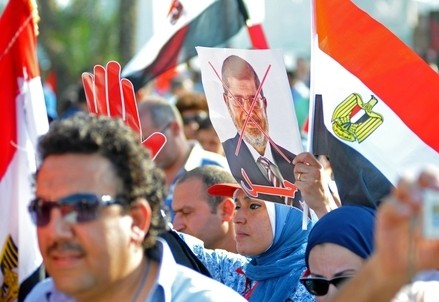 In Egitto, durante le proteste di Piazza Tahrir (Infophoto)