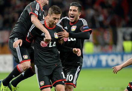 Un'esultanza del Bayer Leverkusen (Infophoto)