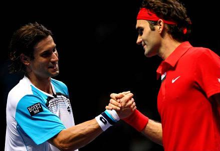 David Ferrer (sinistra), spagnolo di 32 anni e Roger Federer, svizzero di 33 (INFOPHOTO)
