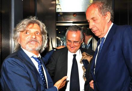Da sinistra Massimo Ferrero, 63 anni, Claudio Lotito, 58 e Rino Foschi, 56 (INFOPHOTO)