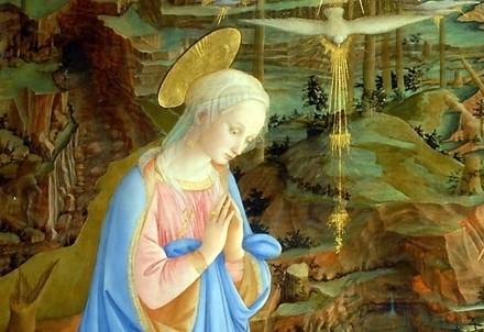 Filippo Lippi, Adorazione del Bambino (particolare) esposto agli Uffizi di Firenze (Immagine d'archivio)