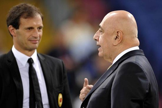 Massimiliano Allegri, 44 anni, e Adriano Galliani, 67 (INFOPHOTO)
