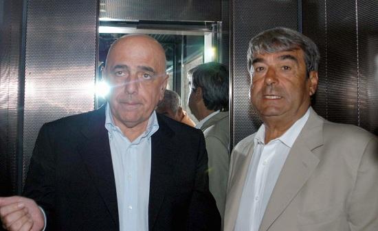 Aldo Spinelli con Adriano Galliani (Infophoto)