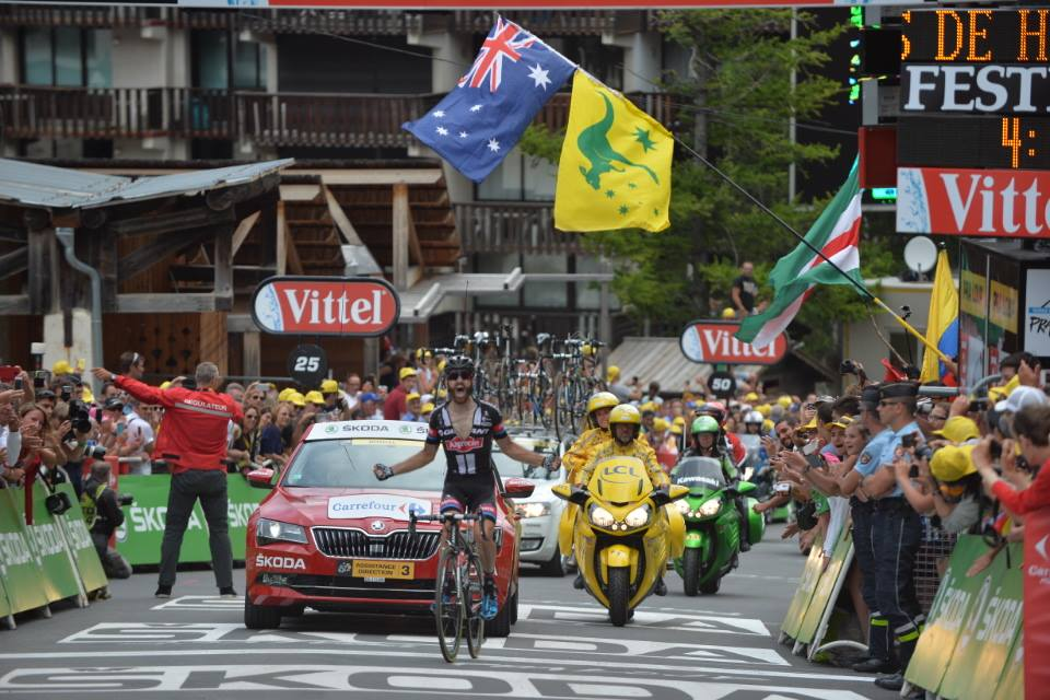 Simon Geschke sul traguardo di Pra Loup (da Facebook Le Tour de France)