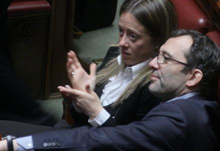 Roberto Giachetti alla Camera con Giorgia Meloni (Infophoto)