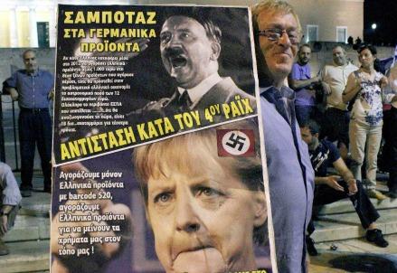Proteste anti-Merkel ad Atene (Infophoto)
