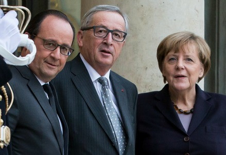 Francois Hollande, Jean-Claude Juncker e Angela Merkel